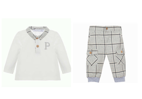3109 Patachou Cream Grey Checked Trouser Set