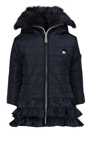 7207/190 Le Chic Navy Ruffle Coat was £71.95