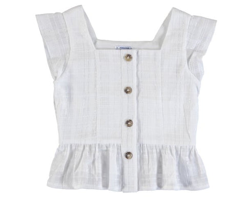 6182-01 Mayoral Junior Girls White Blouse with Lurex Buttons