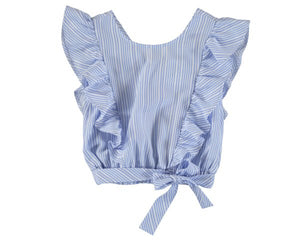 6181-42 Mayoral Junior Girls Ice Stripes Bow Loose Shirt In Stock