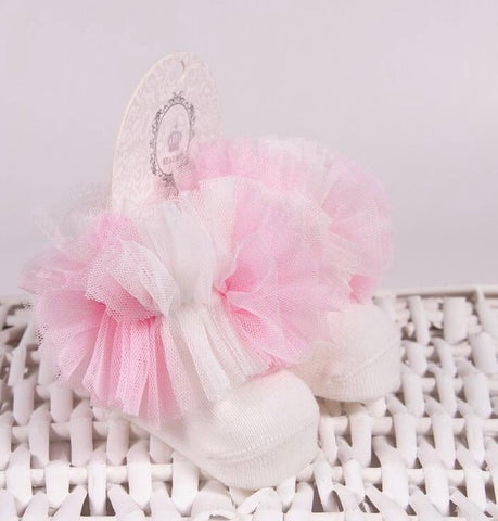 Tutu ankle socks cream pink