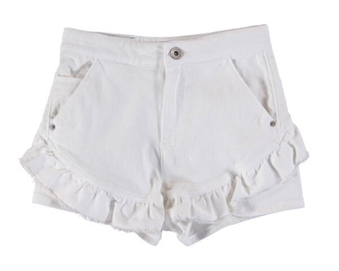 6270-21 Mayoral Junior Girls White Short Twill Short Pants in stock