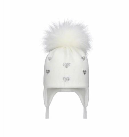 Pom Pom Envy Winter White Bling Hearts Pom Pom  Hat