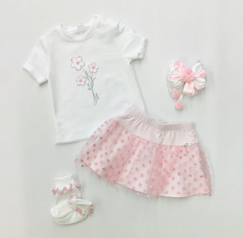 134-10 Gymp Flower T-shirt & Skirt Set
