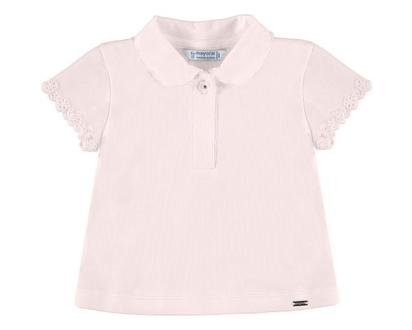 1176-35 Mayoral Baby Girls Rose S/s Polo Shirt