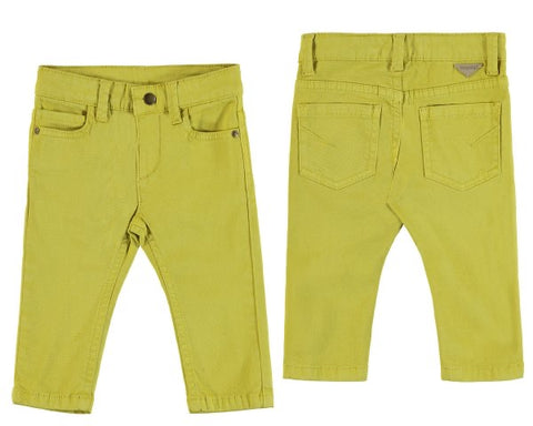 563-79 Mayoral Baby Boy Lime 5 Pocket Slim Fit Chinos