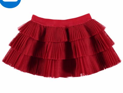 2901-10 Mayoral Baby Girls Red Pleated Tulle 9 & 12m