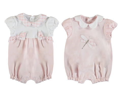 1606-65 Mayoral Layette Baby Rose Set of 2 Short Rompers
