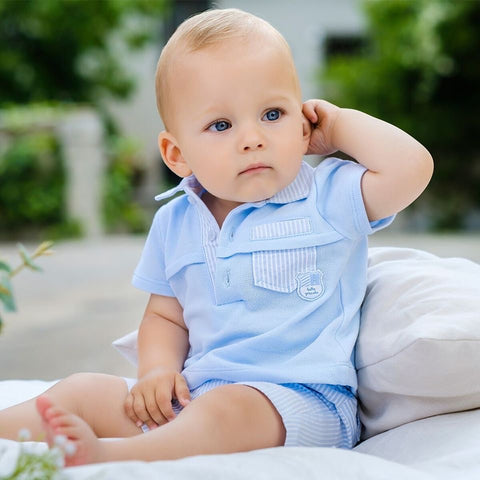 8812 Tutto Piccolo Blue Stripe Shorts & Polo Set