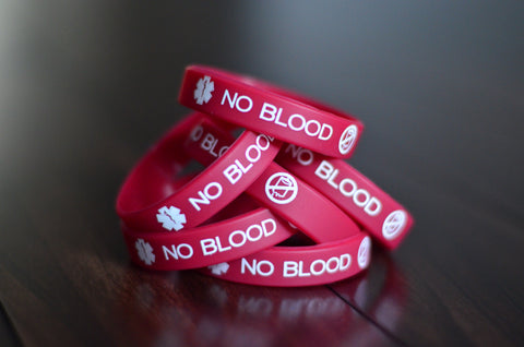 6-pack of Limited Edition Deep Red No Blood Wristbands