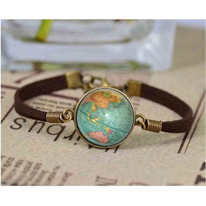 Leather Globe / Earth Bracelet - STEM of LIFE