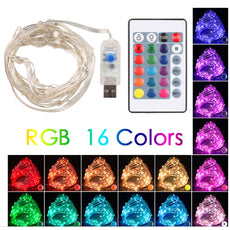 Remote LED 5M Copper Wire Home Christmas String Lights