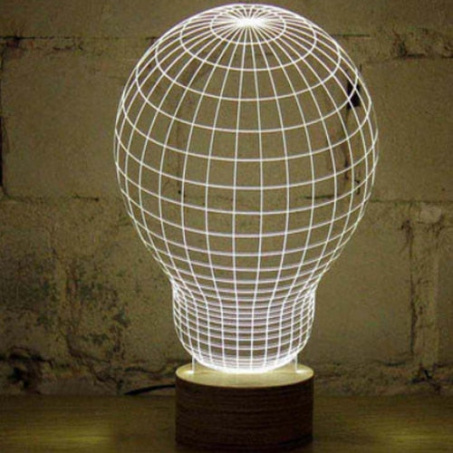 Optical Illusion Glowing Skull Wood Table Lamp
