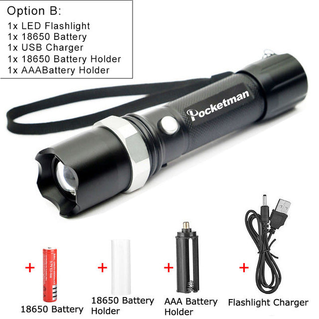 LED Tactical 5100 Lumens Flashlight with Rechargeable Battery
