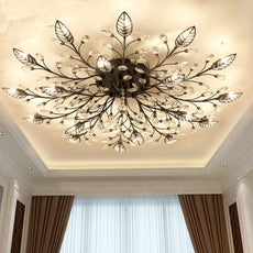 Modern Flush Mount LED Crystal Ceiling Chandelier Light Fixture