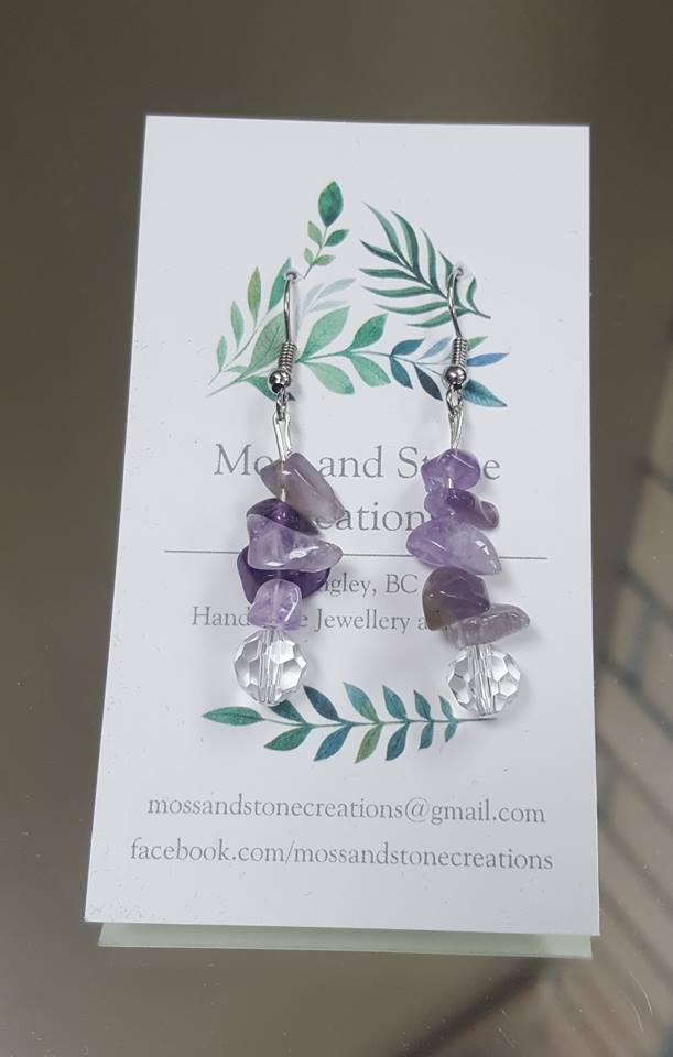 Purple Stone Drop Earrings - The Crooked Corner