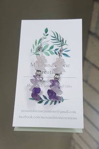 Violet Stone Drop Earrings - The Crooked Corner