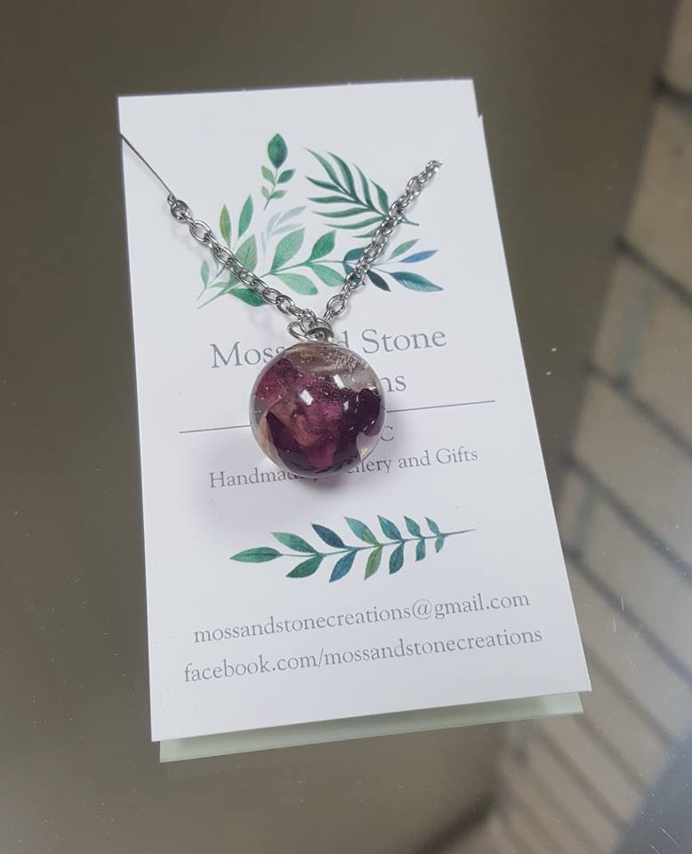 Rose Orb Resin Necklace - The Crooked Corner