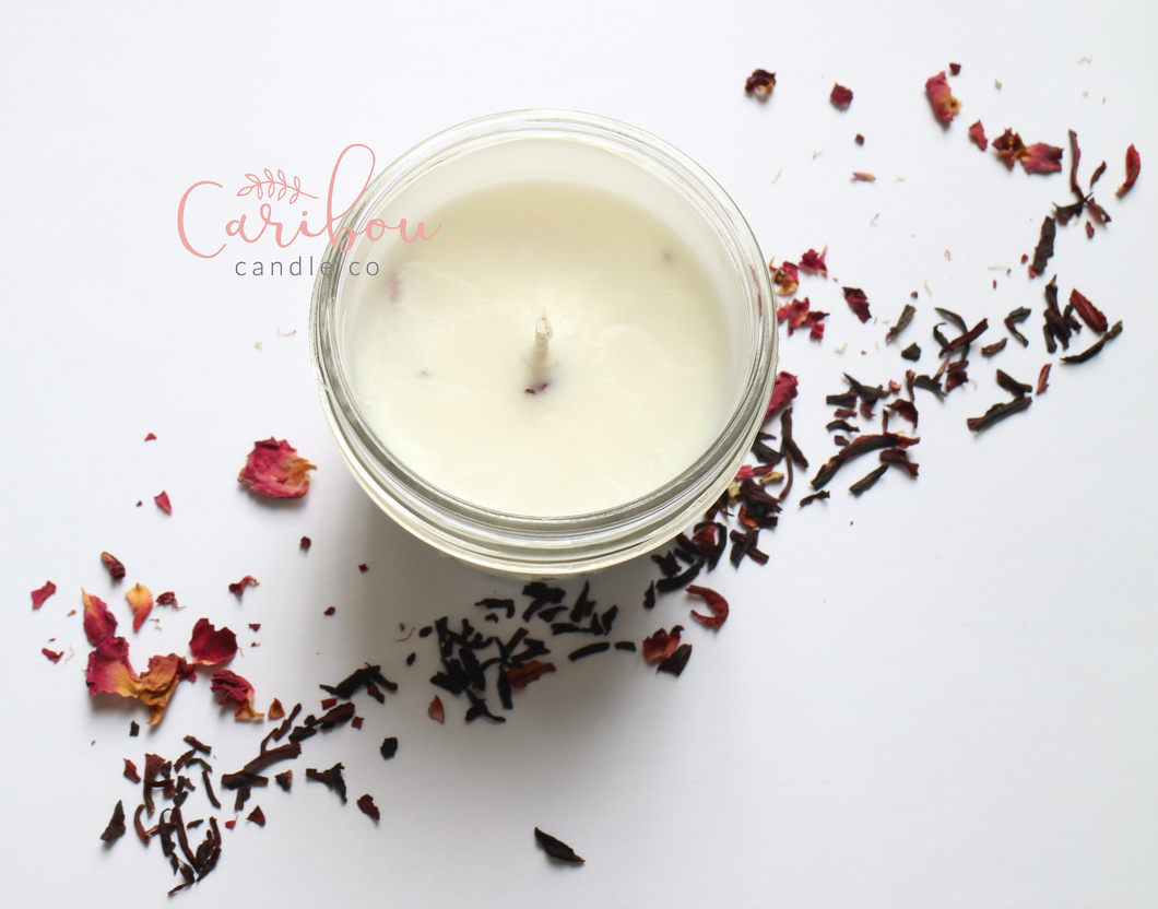 Hibiscus and Rose Soy Candle - The Crooked Corner