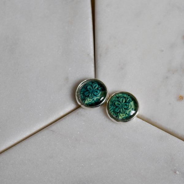 Green Floral Studs - The Crooked Corner