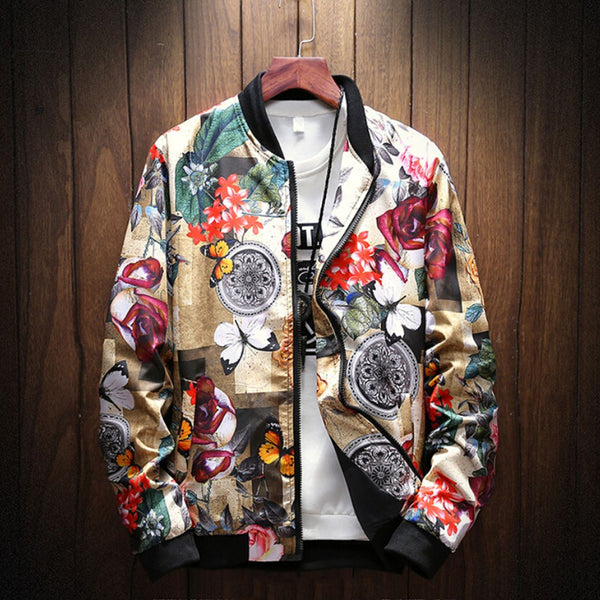 Men's Retro Printed Zipper Jacket