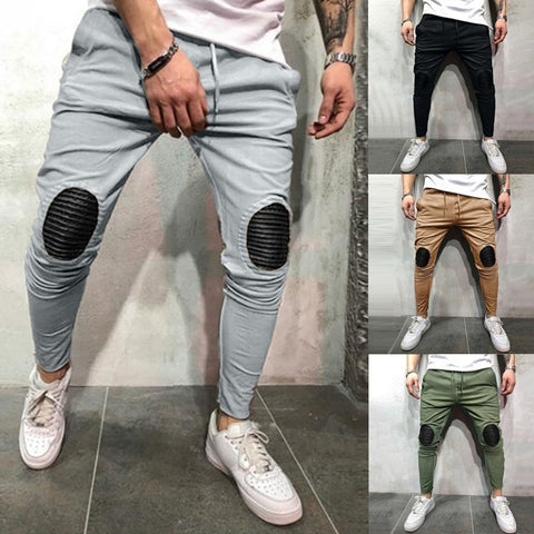 Mens Joggers With Solid Patchwork