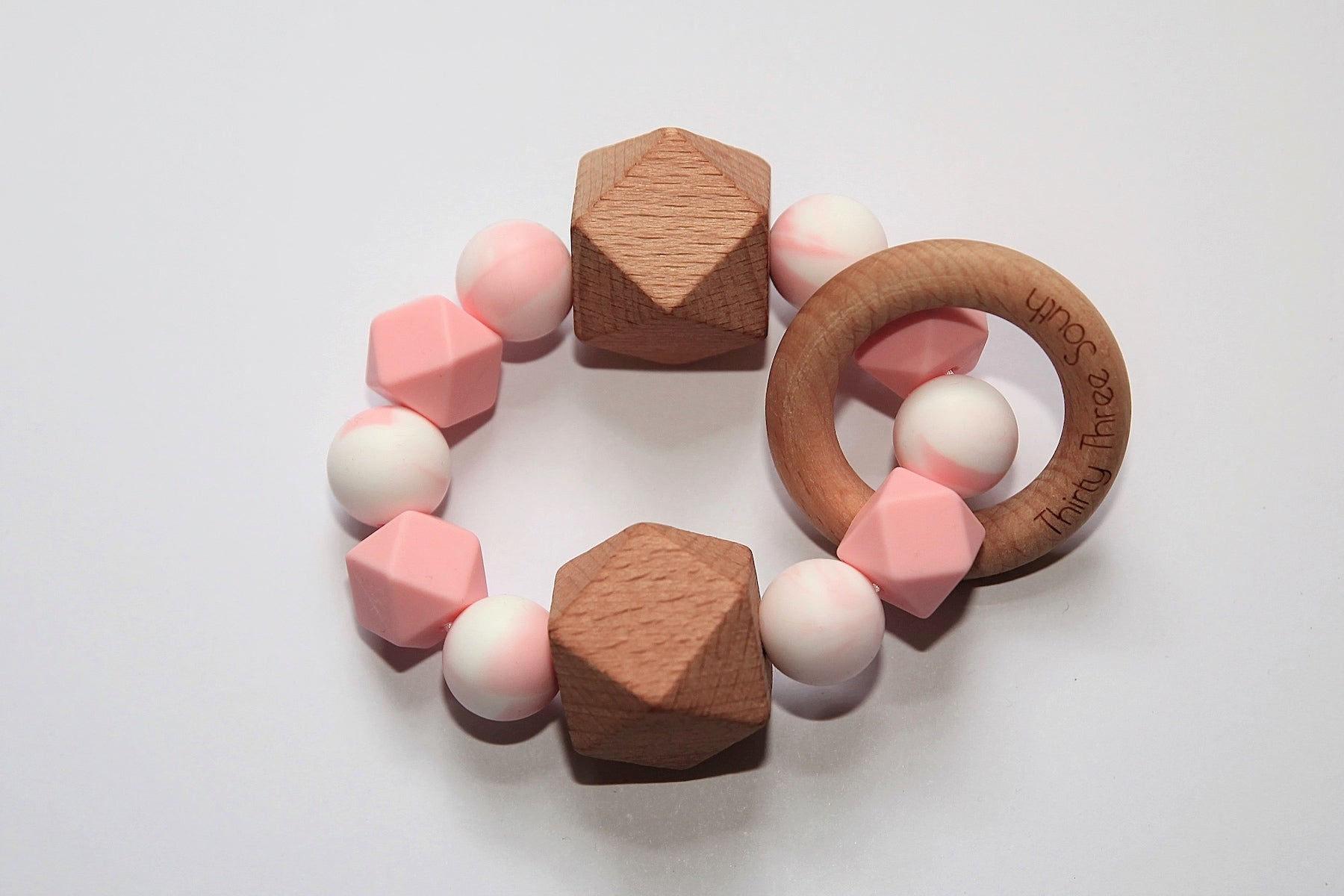 Thirty Three South Wooden Teethers Fez Pink Marble