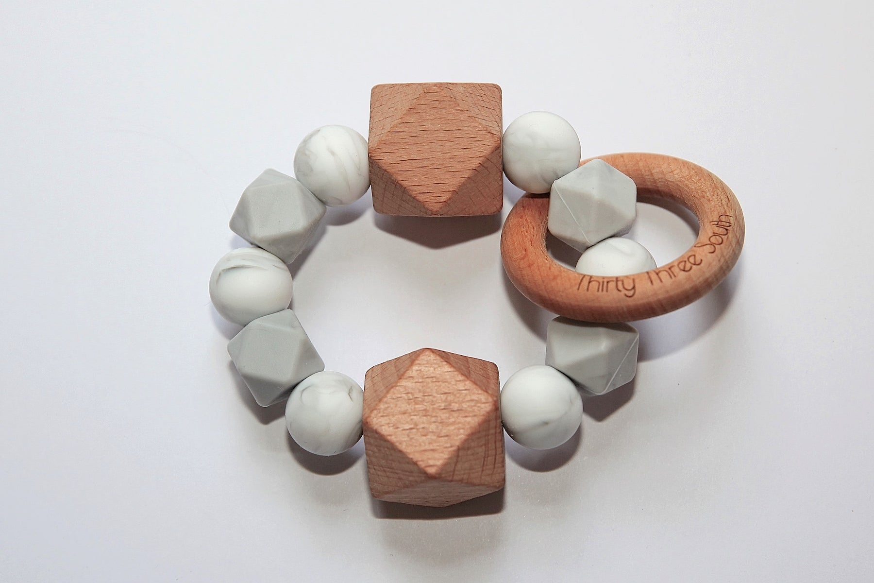 Thirty Three South Wooden Teethers Fez Grey Marble