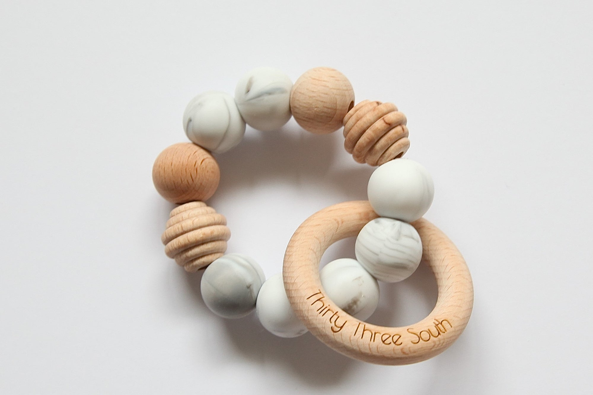 Thirty Three South Wooden Teethers Positano Grey Marble