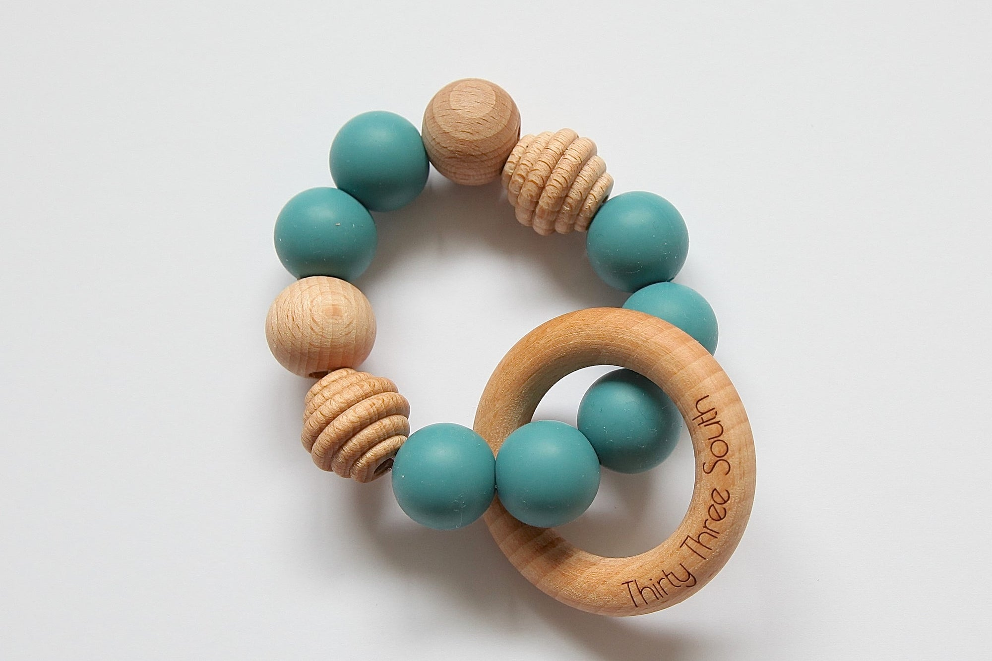 Thirty Three South Wooden Teethers Positano Teal