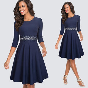 Vintage Casual Round Neck Dress