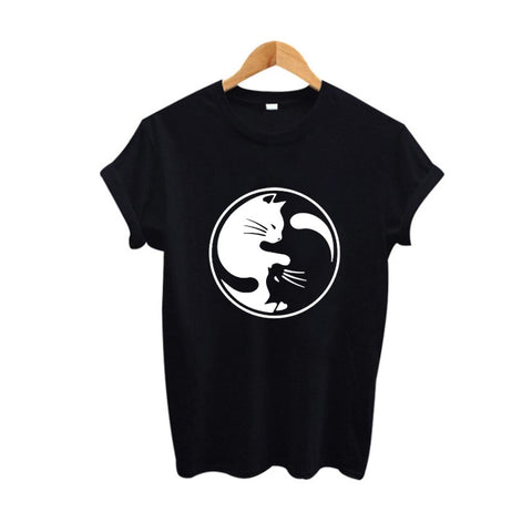 2 Colors Black and White Yin Yang Cat T-shirt