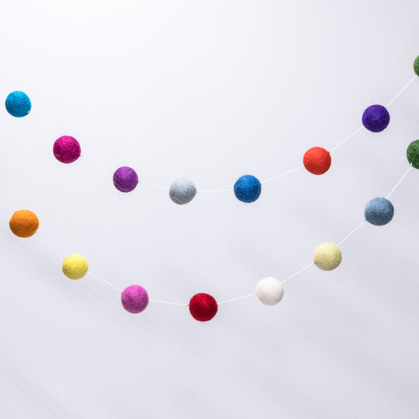 Sheepish - Felt Ball Garlands - Rainbow
