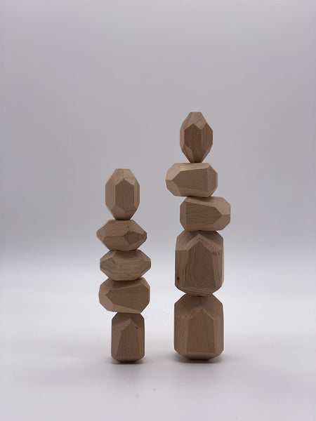 Natural Wooden Stacking Rocks - 10 Piece