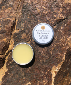 natural cardamom and orange lip balm