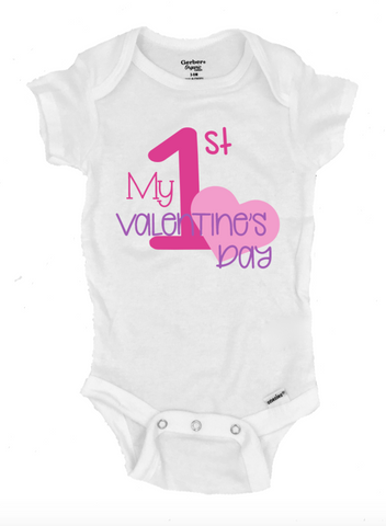 My 1st Valentine's Day Infant Onesie®- Michelle's Gift Studio