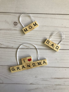 Family Scrabble Ornaments - Michelle's Gift Studio