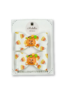Candy Corn Bows Hair Bows- Michelle's Gift Studio