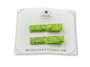 Green Hair Clips - Michelle's Gift Studio