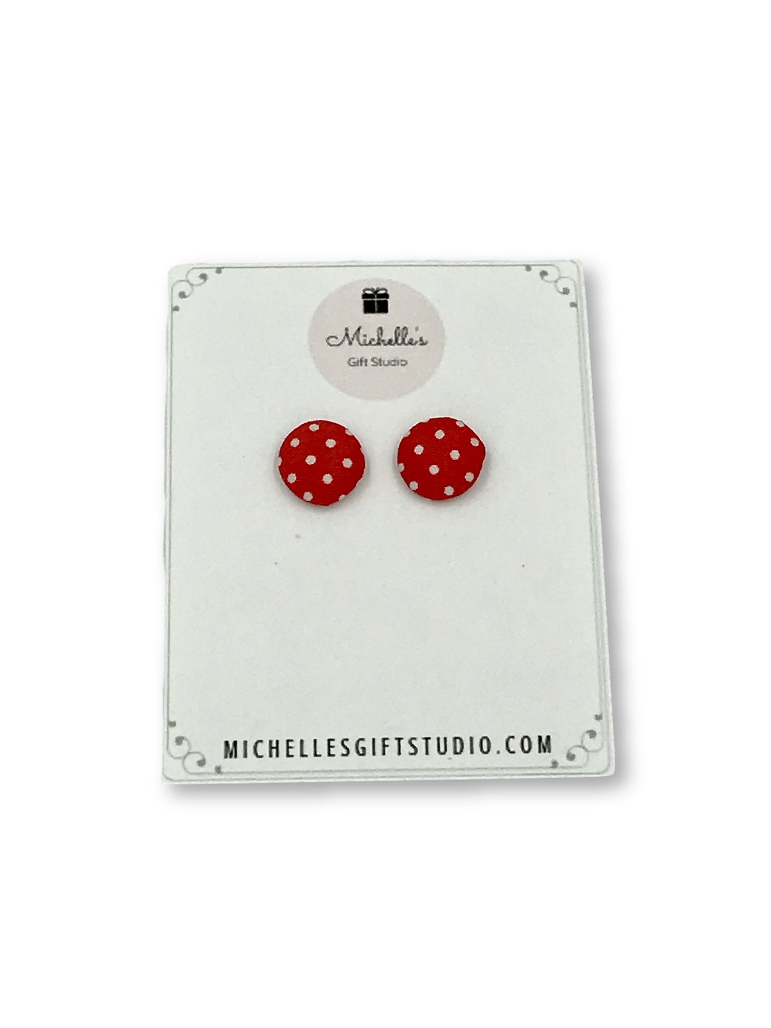 Red & White Polka Dot Earrings - Michelle's Gift Studio