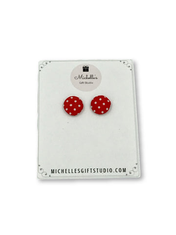 Red & White Polka Dot Earrings Earrings- Michelle's Gift Studio