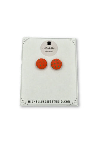 Orange & Green Polka Dot Earrings Earrings- Michelle's Gift Studio