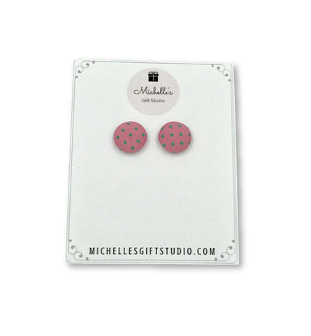 Pink & Green Polka Dot Earrings Earrings- Michelle's Gift Studio