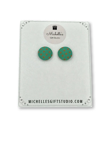 Green & Melon Polka Dot Earrings Earrings- Michelle's Gift Studio