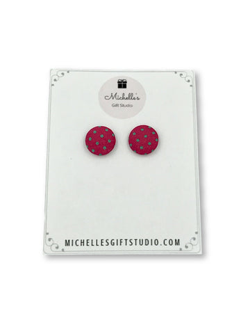 Dark Pink & Green Polka Dot Earrings Earrings- Michelle's Gift Studio