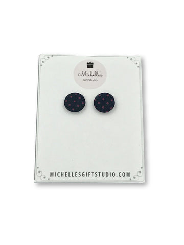 Navy & Pink Polka Dot Earrings Earrings- Michelle's Gift Studio