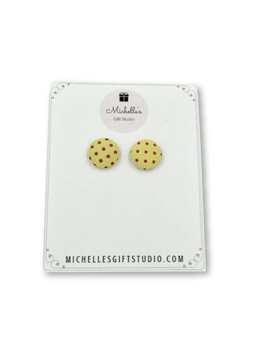 Yellow & Pink Polka Dot Earrings Earrings- Michelle's Gift Studio