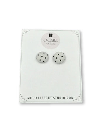 White & Black Polka Dot Earrings - Michelle's Gift Studio