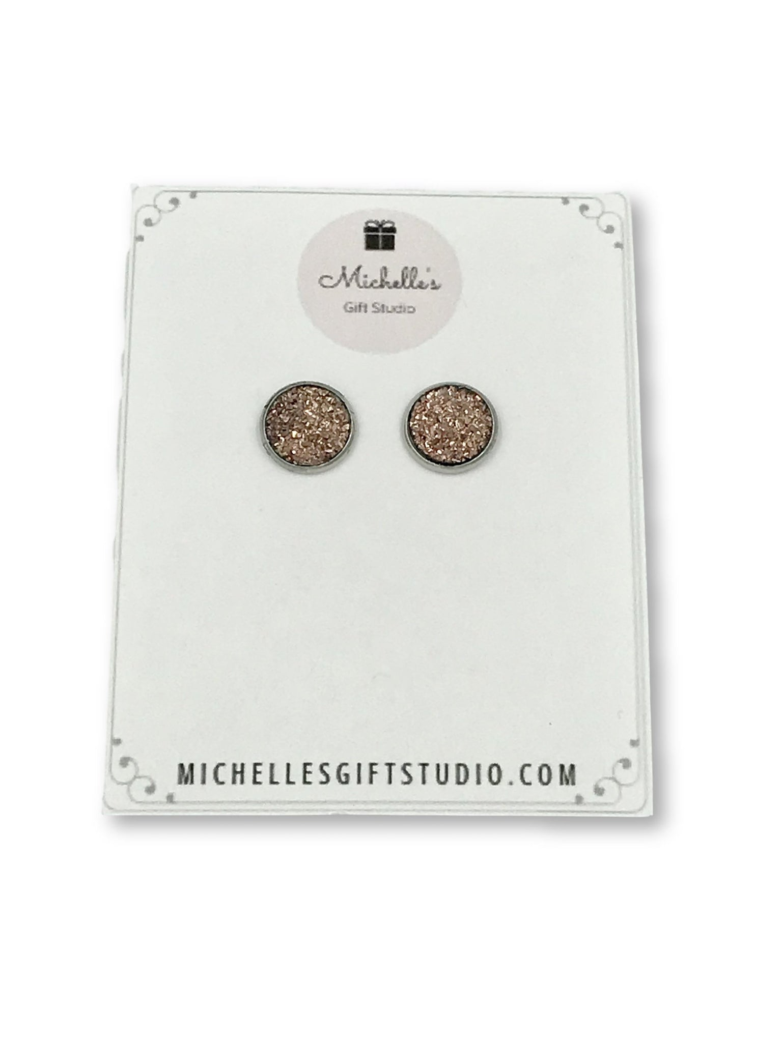 Rose Gold Faux Druzy Earrings - Michelle's Gift Studio