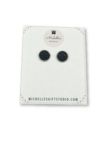 Black Faux Druzy Earrings Earrings- Michelle's Gift Studio